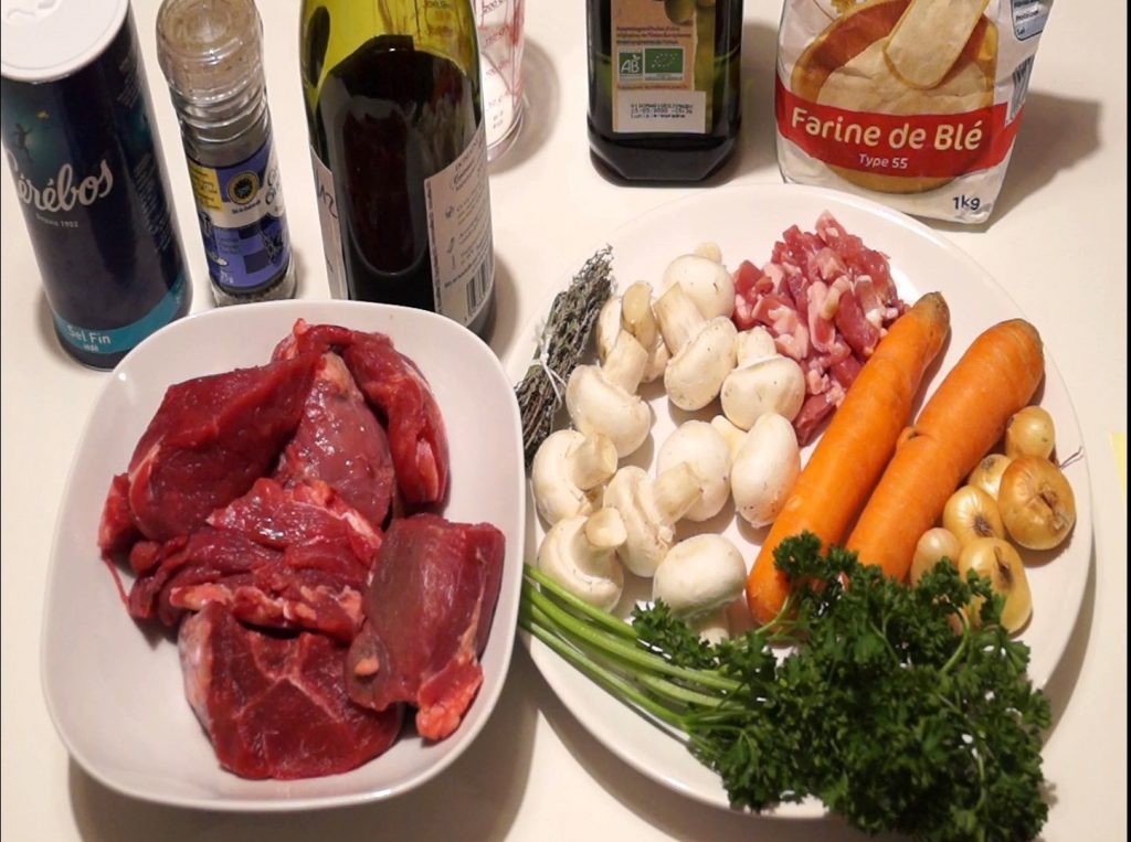 Ingrédients boeuf bourguignon traditionnel