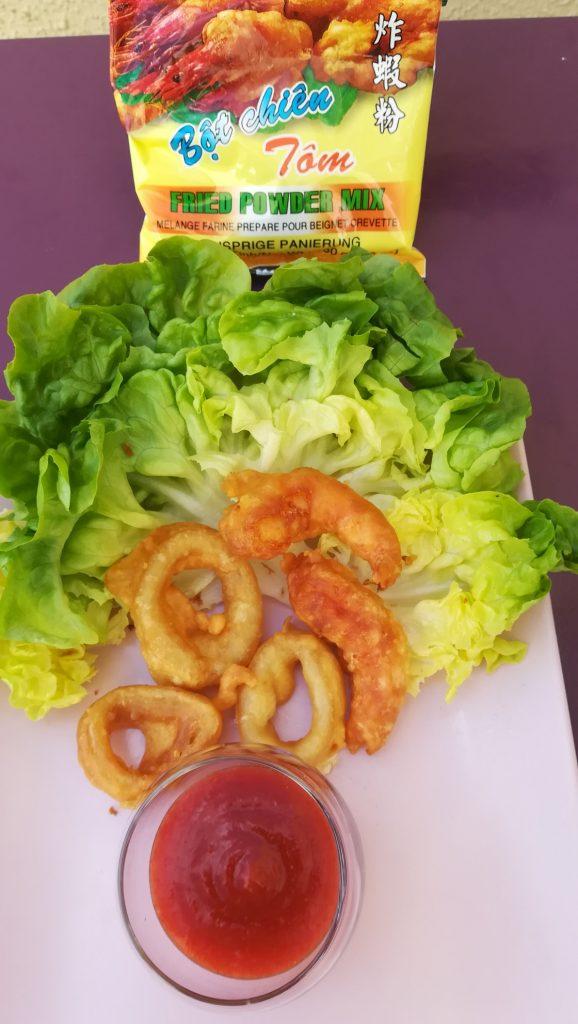 Friture beignets de crevettes et calmars