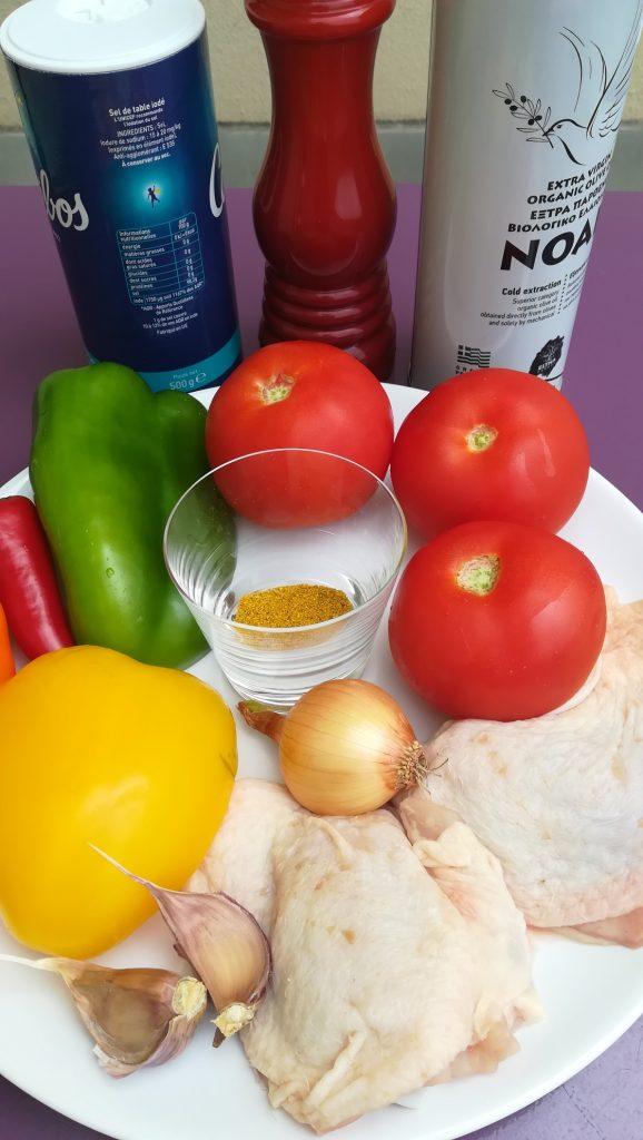 Ingrédients pour curry de poulet
