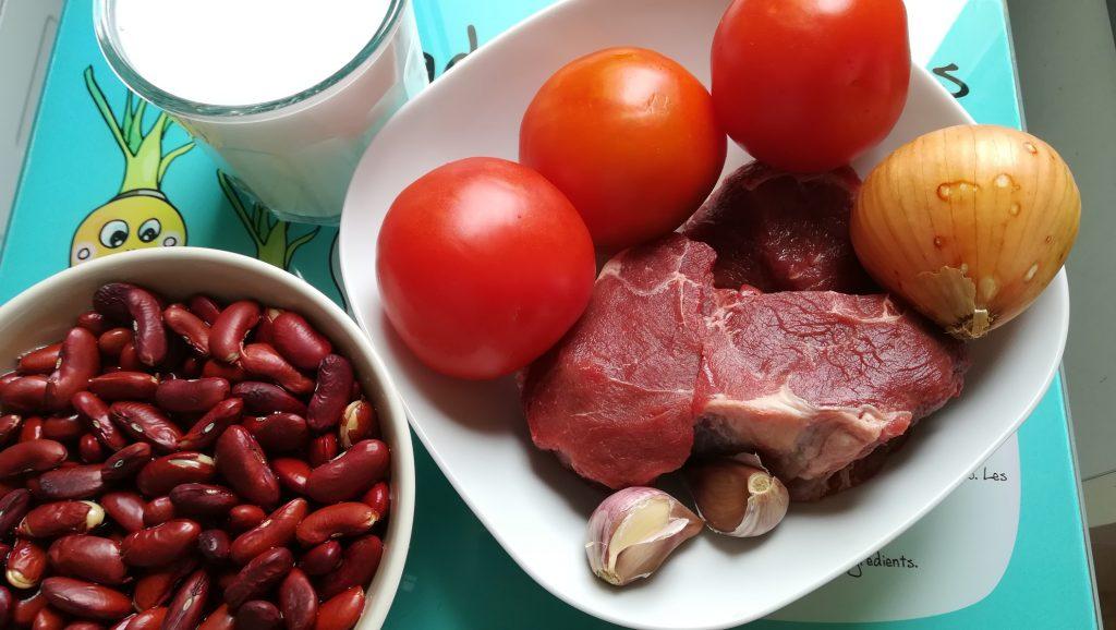 Ingrédients haricots rouges au coco