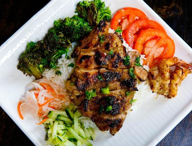 Plat de viande et de légumes